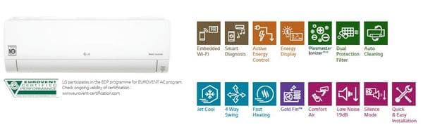 Lg Air Conditioning Deluxe DC18RQ.NSK Wall Mounted Heat Pump Inverter 5Kw/17000Btu A++ R32 240V~50Hz